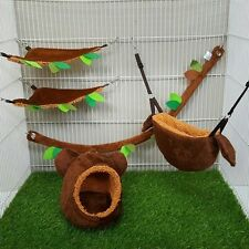 New Arrival! 5Pcs Sugar Glider Cage Set Vertical Log Forest Pattern Brown Color.