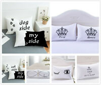 3D Cat & Dog Side Pillowcase Polyester Pillow Cover Hotel Pillow Shams Set White