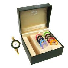 Authentic GUCCI Vintage Change Bezel Quartz Wristwatch Bangle Gold AK19448