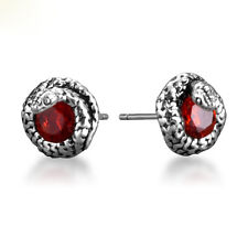 Unique Mens Jewelry Punk Gothic Snake Garnet 925 Sterling Silver Stud Earrings