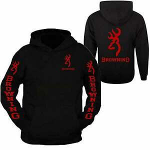 Red Browning Pocket Design Black Hoodie Hooded Sweatshirt Front & Back S - 3XL