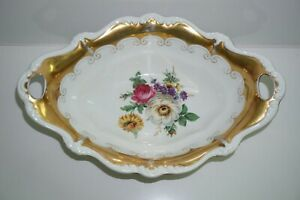 Alte Porzellan Schale Rosenthal Selb Pompadour Blumendekor / Golddekor 35cm