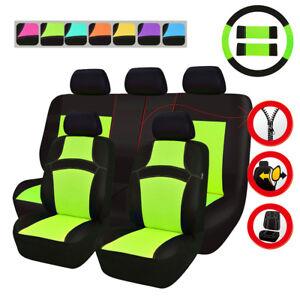 Universal Green Car Seat Covers Steering Wheel Cover Set For SUV Truck Sedan Van