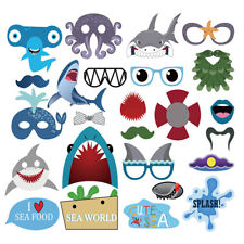 25PCS Shark Birthday Photo Booth Props Decoration Photography Selfie Baby shower