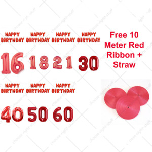 Happy Birthday + Giant Age Number Foil Balloons Self-inflating Banner Baloons