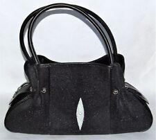 "Genuine Stingray Leather Handbag Women's Black & White Purse Bag Tote 17"" X 8"""