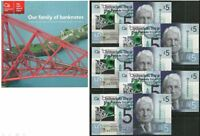 CLYDESDALE BANK POLYMER 5 x £5 SEQUENTIAL UNCIRCULATED NOTES & FREE 24 PAGE BOOK