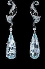 3.50Ct Blue Pear Shaped Stone Dangle Type Women Earrings In 925 Sterling Silver