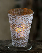 Burlap and Lace Mint Julep Votive Holder 23552 Snk Enterprise Set of 4 New