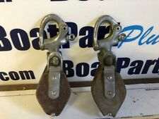 Pair of Vintage Composite Snatch Blocks - Chrome on Bronze Shackles