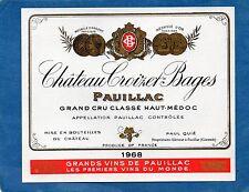 PAUILLAC 5E GCC ETIQUETTE CHATEAU CROIZET BAGES 1968 73 CL RARE  §27/08§