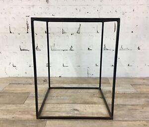 Raw Steel Top Industrial Style Minimal Side Table Modern Thin Steel Frame