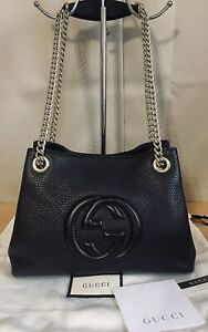 Gucci Soho GG Black Leather Chain/Leather Small Crossbody Purse Shoulder Bag