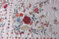 Antique c1890 Silk Embroidered Canton de Manila/Chinese Handmade Piano Shawl