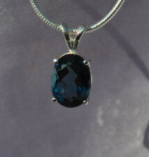 10mm X 8mm OVER 3CTS OVAL SHAPE LONDON BLUE TOPAZ PENDANT-.925 STERLING SILVER