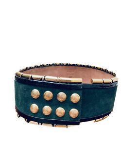 Balmain X H&M Rare High Waist Bottle Green Suede Leather Belt Size XS / S