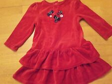 GYMBOREE 18 24 M RED VELOUR RUFFLE DRESS ADORABLE  COZY COMFY LOOK