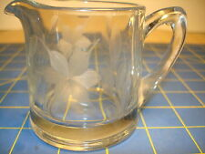 CREAMER WITH BEAUTIFUL  ETCHED GLASS FLOWER DESIGN