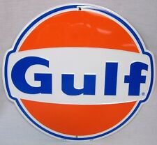 GULF OIL GASOLINE GAS PUMP ROUND METAL TIN SIGN GARAGE BARN INDOOR OUTDOOR