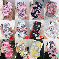 For iPhone 11 Pro Max XS XR 6s 7 8 Plus Flower Holder Stand Soft TPU Case Cover