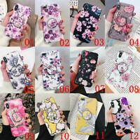 For iPhone XS Max XR 6 7 8 Plus Flower Pattern Holder Stand Soft TPU Case Cover
