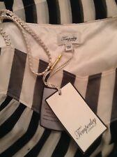 TEMPERLEY London: Size 12 Strapless Dress Black & Beige Striped Silk Chiffon