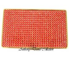Ladies Gold Metal Coral Crystal Cigarette Case Holder with Swarovski Crystals