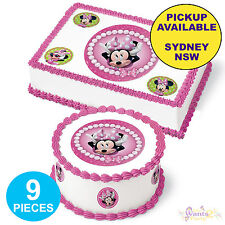 MINNIE MOUSE PARTY SUPPLIES 9pc EDIBLE CAKE CUPCAKE ICING IMAGE ROUND TOPPER