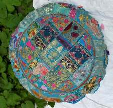 """16"""" Round Patchwork Pillow Cushion Cover Indian Decorative Floor Covers Throw US"""