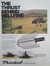 3/1980 PUB THIOKOL ROCKET MOTOR US ARMY HELLFIRE MISSILE HUGHES AH-64 APACHE AD
