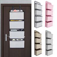 4-Layer Door Hanging Pockets, Shoe Storage Organiser Bag With Two Hanger Hooks