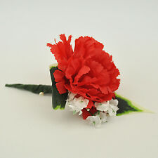 Artificial Silk Flowers Single Carnation Buttonhole Red