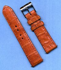 Breitling Steel Buckle & 22mm Light Brown Handcrafted Genuine Crocodile Strap