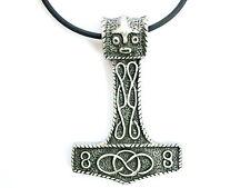 """Thor Viking Hammer Pewter Charm Big Pendant Amulet & Pvc Choker Necklace 2.2"""""""