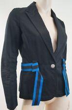 ARMANI EXCHANGE Women's Black & Royal Blue 100% Cotton Fitted Blazer Jacket Sz:M