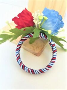 6pc Handmade 4th of July Napkin Rings in Red and Blue Poppy Flowers