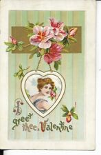 EARLY VALENTINES CARD FEMALE PORTRAIT AND POSIES EARLY 1900S