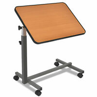 Overbed Rolling Table Over Bed Laptop Food Tray Hospital Desk With Tilting Top