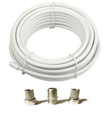 10m satellite Cable  WHITE SKY Virgin media, Free f plugs COAX FREE P+P