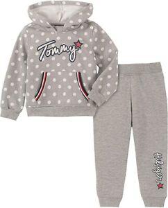 Tommy Hilfiger Toddler Girl 2PC Polka-Dot Hoodie & Pants Set Grey SZ 24M New