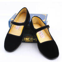 Women Mary Jane Shoes Ballerina Work Velvet Fabric Flats Cotton Sole Boat Shoe