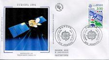 FRANCE FDC - 2697 2 EUROPA SATELLITE DE TELE - KOUROU 27 Avr 1991 -LUXE sur soie