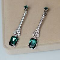 Boucles d'Oreilles Clip Pince Argenté Art Deco Long Carré Vert Emeraude Retro J8