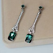 Orecchini`Orecchie Clip Argentato Art Deco Lungo Piazza Verde Smeraldo Retrò J8