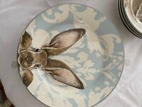 Williams Sonoma Damask Bunny Dinner Plates #4