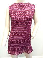 VTG 60's Jack Winter Mod Micro Mini Tunic Wool Fringe Sweater Shift Dress s 38