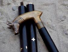 Designer Antique Brass Animal Head Handle Wooden Walking Cane Stick Greet Gift