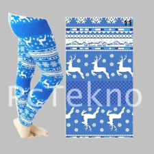 Reindeer Snowflake Christmas Holiday Print Blue Leggings Soft ONE SIZE OS