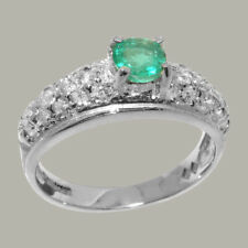 Solid 925 Sterling Silver Natural Emerald & CZ Womens Band Ring - Sizes J to Z