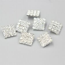 Diamante 10 Pcs Rhinestone Crystal Silver Shank Buttons DIY Sewing Embellishment